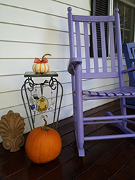 Image of chair with pumpkins